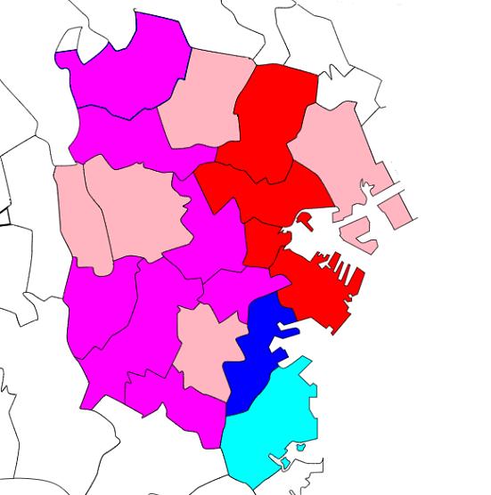 横浜市の地価変化率を区ごとに色分けして表示した地図