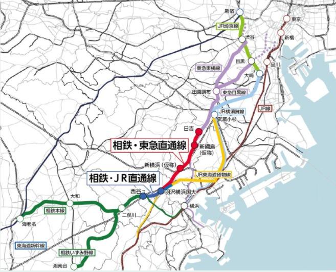 相鉄・東急直通線、相鉄・JR直通線完成予想地図