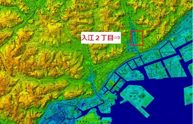 横浜市の標高がわかる地図